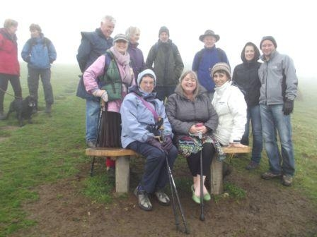 Sponsored walk to Sylvia's bench on Thorncombe Beacon in aid of Fortuneswell Trust, April 2014